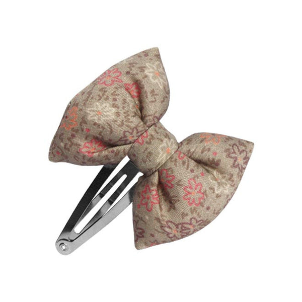 Beige Flowers Bow hair clip-Bow Hair Clips-Sweet Peas Kidswear