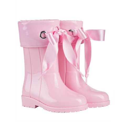 igor - Baby Pink Bow Wellies-Shoes-Sweet Peas Kidswear