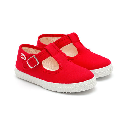 Cienta T-Bar Canvas Shoes - Red-Canvas Shoes-Sweet Peas Kidswear