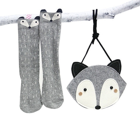 Mini Dressing - Racoon Bag - Grey-Bags-Sweet Peas Kidswear