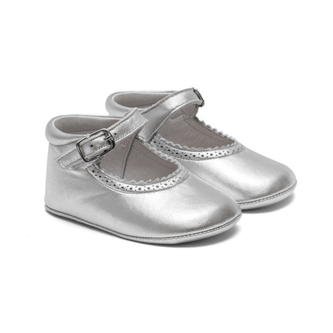 TNY - Leather Pre-Walker Baby Shoes - Silver-Baby Pre-Walker Shoes-Sweet Peas Kidswear