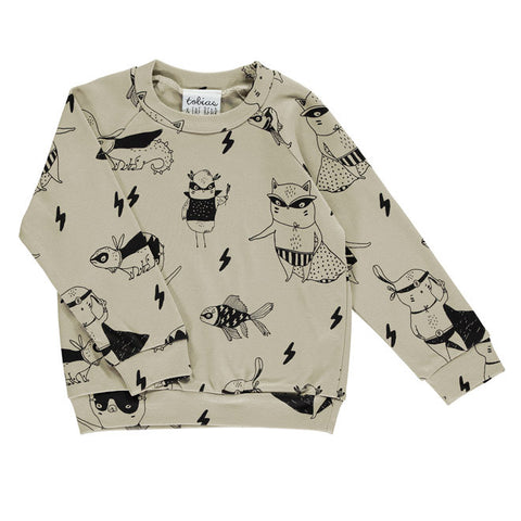 Tobias & The Bear - Super Pets Lightweight Sweatshirt-Jumper-Sweet Peas Kidswear