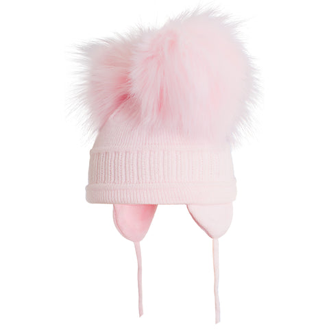 Satila of Sweden - Baby Pink 'Tindra' Faux Fur Double Pom-Pom Hat-Hat-Sweet Peas Kidswear