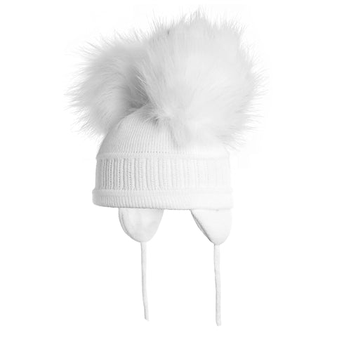 Satila of Sweden - White 'Tindra' Faux Fur Double Pom-Pom Hat-Hat-Sweet Peas Kidswear