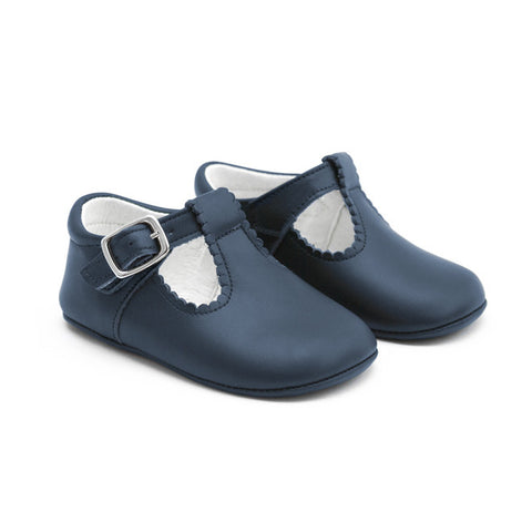 TNY Leather 'T-Bar Style' Pre-Walker Baby Shoes - Navy-Leather T-Bars-Sweet Peas Kidswear