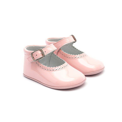 TNY - Leather Patent Pre-Walker Baby Shoes - Baby Pink - Sweet Peas Kidswear  - 1