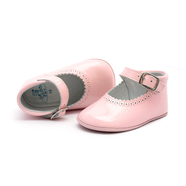 TNY - Leather Patent Pre-Walker Baby Shoes - Baby Pink-Baby Pre-Walker Shoes-Sweet Peas Kidswear