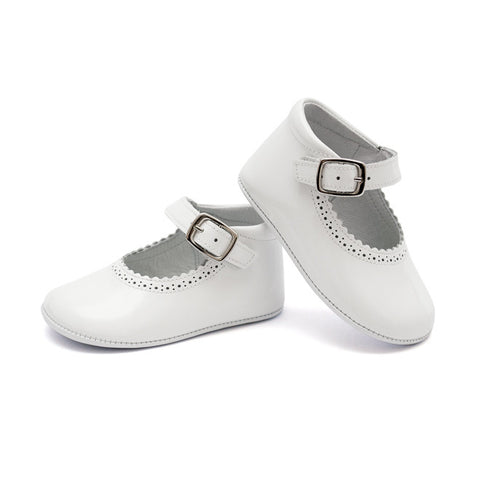 TNY - Leather Patent Pre-Walker Baby Shoes - White-Baby Pre-Walker Shoes-Sweet Peas Kidswear