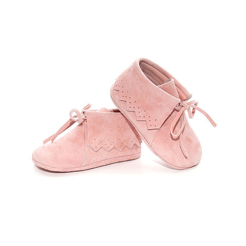 TNY Baby Boots - Suede Moccasins - Baby Pink-Suede Moccasins-Sweet Peas Kidswear