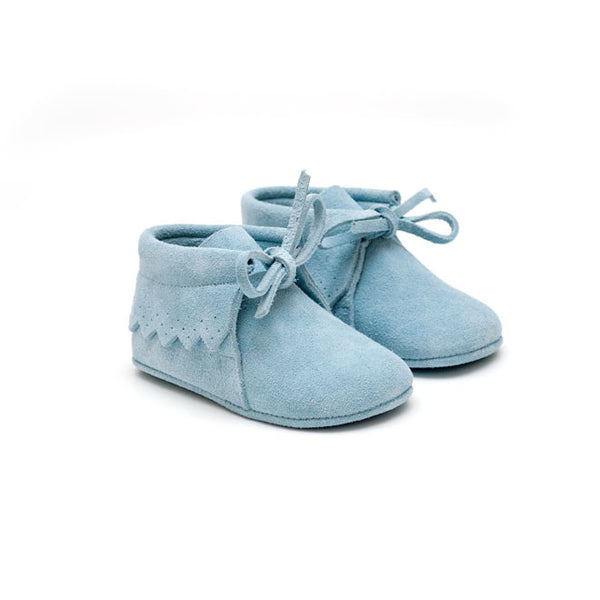 TNY Baby Boots - Suede Moccasins - Baby Blue-Suede Moccasins-Sweet Peas Kidswear
