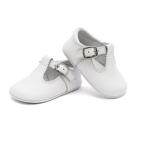 TNY White Leather 'T-Bar Style' Pre-Walker Shoes-Leather T-Bars-Sweet Peas Kidswear