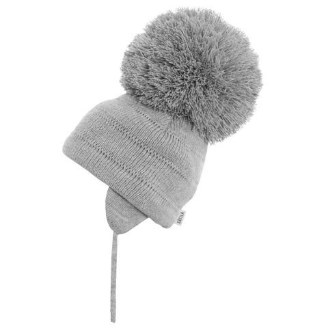 Satila of Sweden - Tuva Grey Knitted Big Pom Hat-Hat-Sweet Peas Kidswear