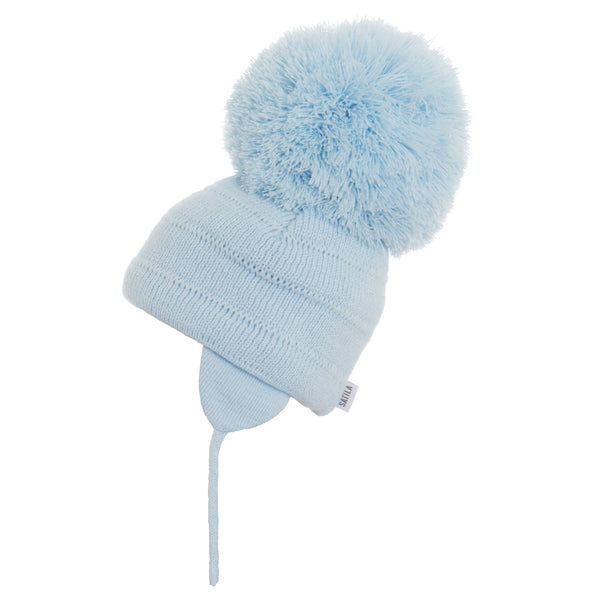 Satila of Sweden - Tuva Soft Baby Blue Knitted Big Pom Hat-Hat-Sweet Peas Kidswear