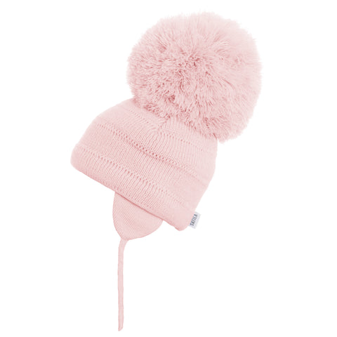 Satila of Sweden - Tuva Soft Pink Knitted Big Pom Hat-Hat-Sweet Peas Kidswear