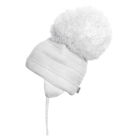 Satila of Sweden - Tuva White Knitted Big Pom Hat-Hat-Sweet Peas Kidswear