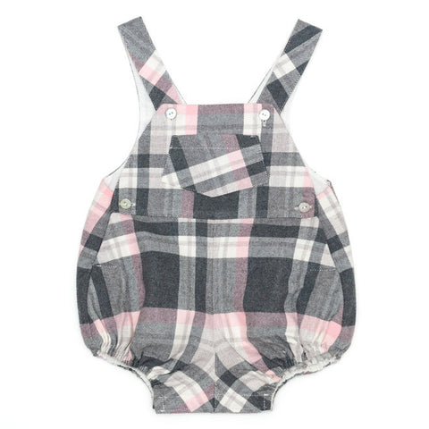 DOT - 'Thomas' Grey & Pink Check Romper-Romper-Sweet Peas Kidswear