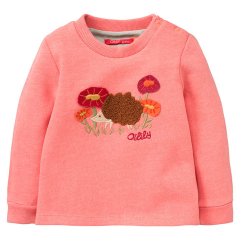 "Oilily - Girls ""Hermanita"" Pink Melee Sweater with Hedgehog Placement-Jumper-Sweet Peas Kidswear"