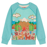 Oilily - Green Panel Mountain Tale Sweatshirt-Sweatshirt-Sweet Peas Kidswear