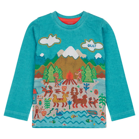 Oilily - Boys Mountain Tale Cotton T-Shirt-T-Shirt-Sweet Peas Kidswear