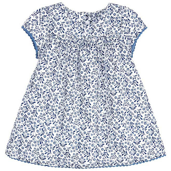 Absorba - Baby Girls Blue Floral Print Dress With Matching Knickers-Dress-Sweet Peas Kidswear