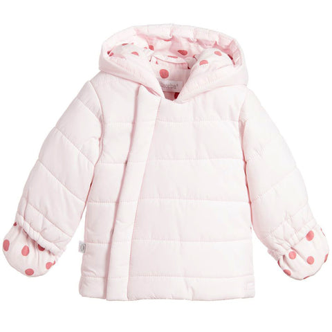 Absorba - Baby Pink Hooded Down Coat-Coat-Sweet Peas Kidswear