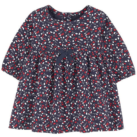 Absorba - Baby Girls Navy Blue Floral Print Dress-Dress-Sweet Peas Kidswear