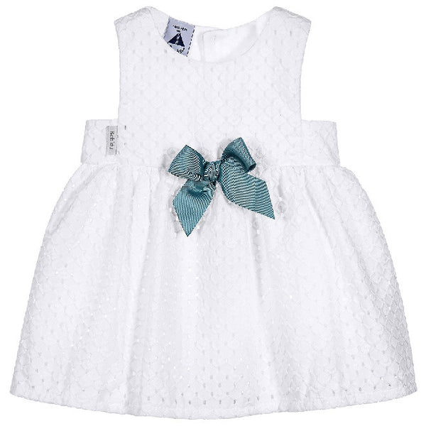 Babidu - Baby Girls White Dress with Bow-Dress-Sweet Peas Kidswear