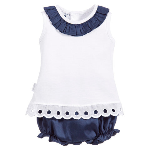 Babidu - Baby Girls White Top & Blue Shorts 2 Piece Set-Outfit Set-Sweet Peas Kidswear