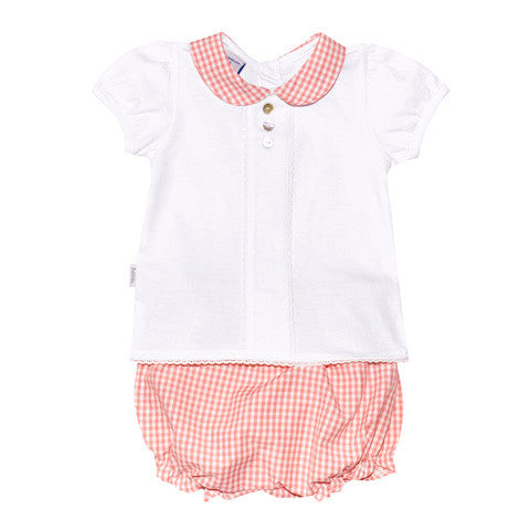 Babidu - Baby Girls White Top & Pink Gingham Shorts 2 Piece Set-Outfit Set-Sweet Peas Kidswear