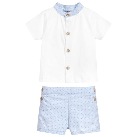 Babidu SS19 - Boys Blue Cotton Shorts Set