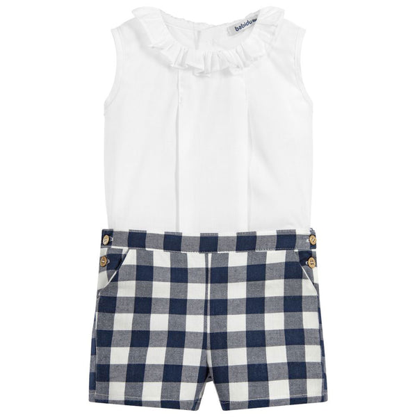 Babidu - Girls Navy Check 2 Piece Shorts Set