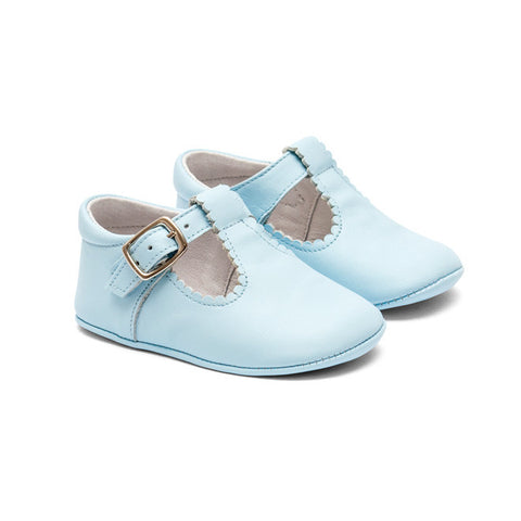 TNY Leather 'T-Bar Style' Pre-Walker Baby Shoes - Baby Blue - Sweet Peas Kidswear  - 1