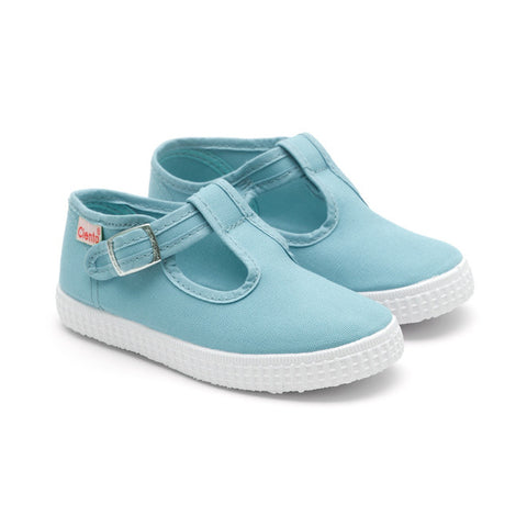 Cienta T-Bar Canvas Shoes - Baby Blue-Canvas Shoes-Sweet Peas Kidswear