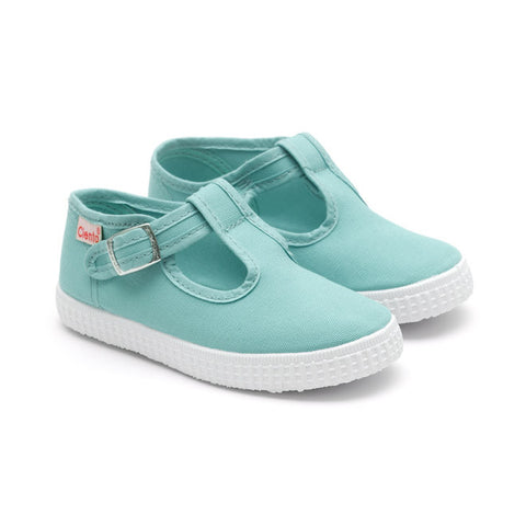Cienta T-Bar Canvas Shoes - Aqua Blue-Canvas Shoes-Sweet Peas Kidswear