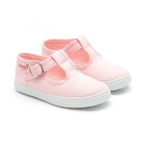 Cienta T-Bar Canvas Shoes - Baby Pink - Sweet Peas Kidswear  - 1
