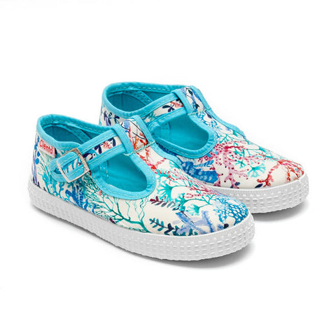 Cienta T-Bar Canvas Shoes - Blue Coral Print-Canvas Shoes-Sweet Peas Kidswear