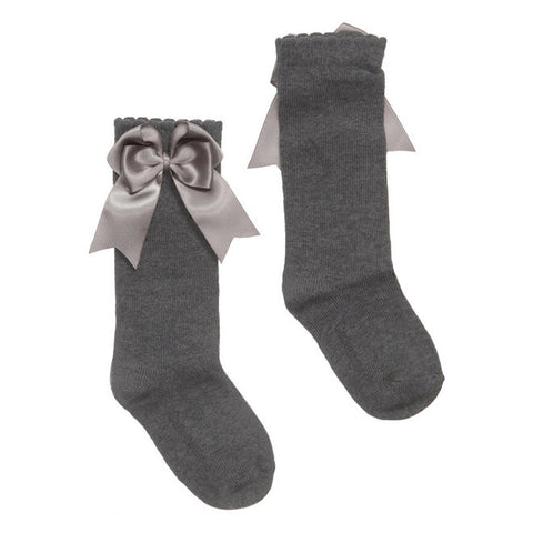 Carlomagno - Girls Grey Bow Socks-Socks-Sweet Peas Kidswear