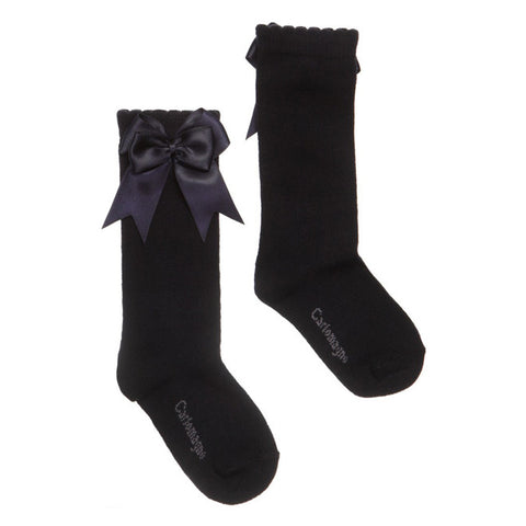 Carlomagno - Girls Navy Bow Socks-Socks-Sweet Peas Kidswear