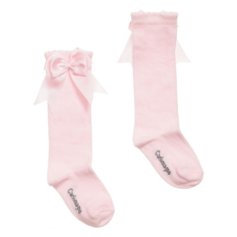 Carlomagno - Girls Baby Pink Knee Socks with Side Bow - Sweet Peas Kidswear  - 1