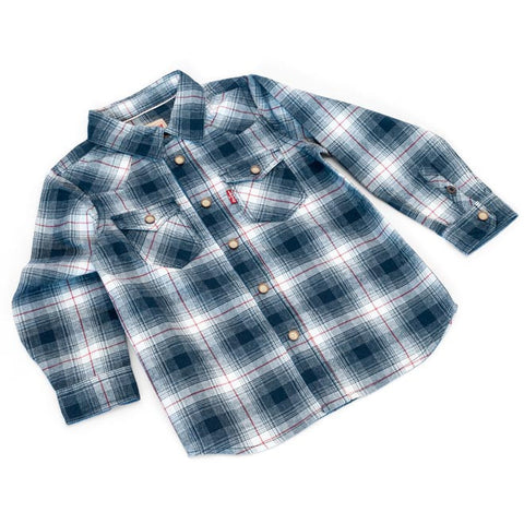 Levi's - Boys Navy, White & Red Checked Shirt-Shirt-Sweet Peas Kidswear