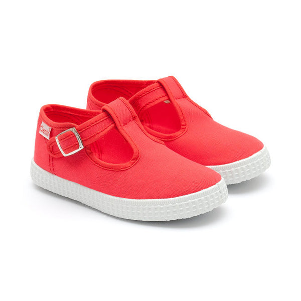 Cienta T-Bar Canvas Shoes - Coral Red-Canvas Shoes-Sweet Peas Kidswear