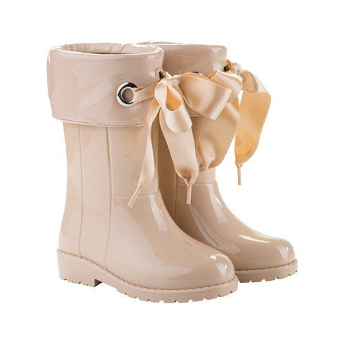 igor - Beige Bow Wellies-Shoes-Sweet Peas Kidswear
