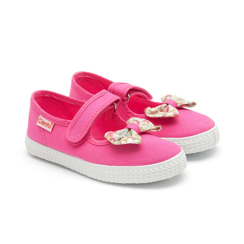 Cienta Mary Jane Style Canvas Shoes - Fuchsia with Floral Bow-Canvas Shoes-Sweet Peas Kidswear