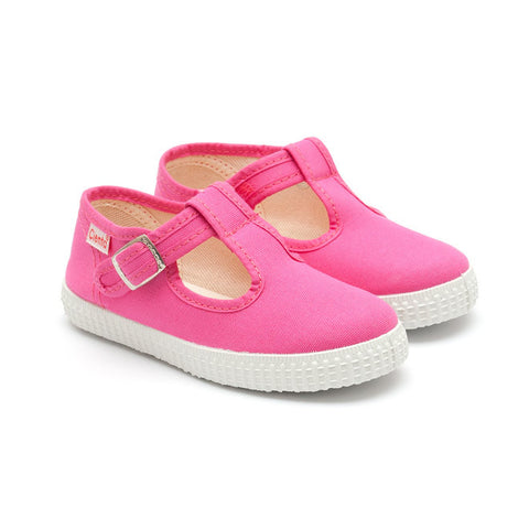 Cienta T-Bar Canvas Shoes - Fuchsia Pink-Canvas Shoes-Sweet Peas Kidswear