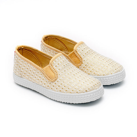Cienta Gold Sparkle Slip-on-Canvas Shoes-Sweet Peas Kidswear