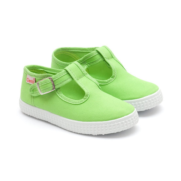 Cienta T-Bar Canvas Shoes - Green-Canvas Shoes-Sweet Peas Kidswear