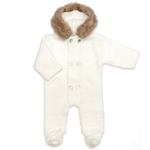 Mebi - Ivory Knitted Pramsuit with Fur Hood-Pramsuit-Sweet Peas Kidswear