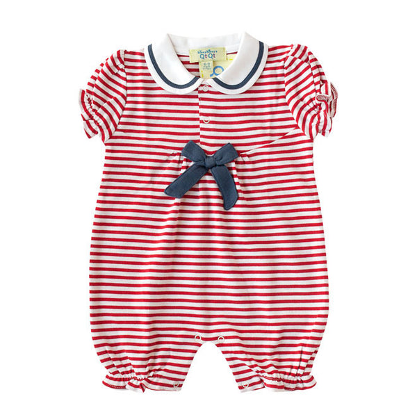 Kissy Kissy - Girls 'QT Marine Stripes' Shortie in Red-Playsuit-Sweet Peas Kidswear