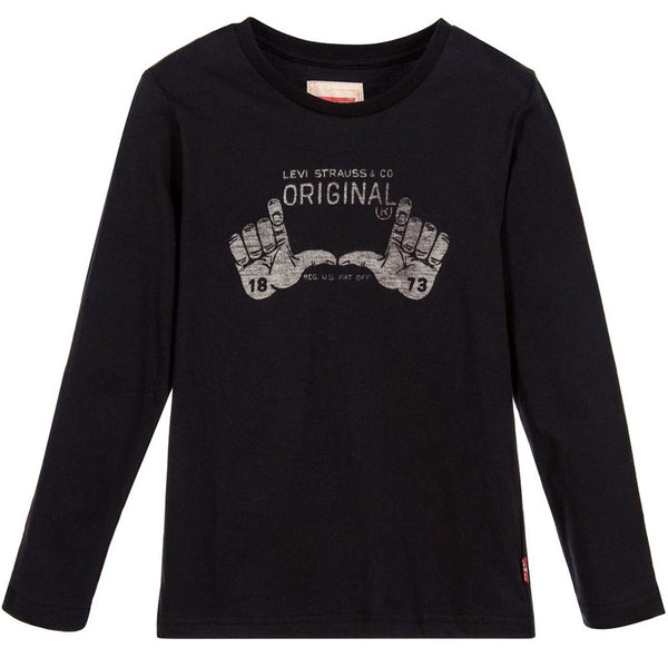 Levi's - Boys Black Cotton Jersey Top-T-Shirt-Sweet Peas Kidswear