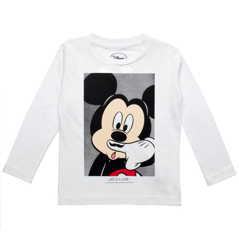 Little Eleven Paris - White 'Mickey Mouse' Cotton Jersey Top-T-Shirt-Sweet Peas Kidswear